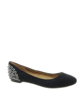 Image 1 ofNew Look Jike Stud Black Ballet Flats