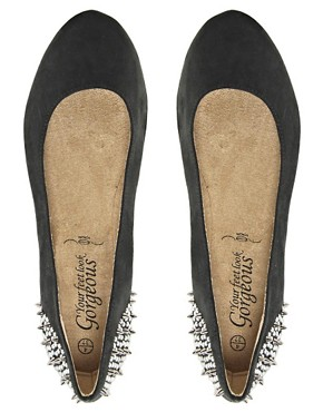 Image 4 ofNew Look Jike Stud Black Ballet Flats