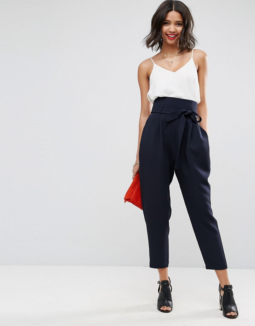 ASOS Tailored Super High Waist Balloon Tapered Trouser With Self Belt - Navy