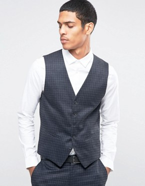 Selected Homme Suit Waistcoat with Brushed Tonal Check in Skinny Fit