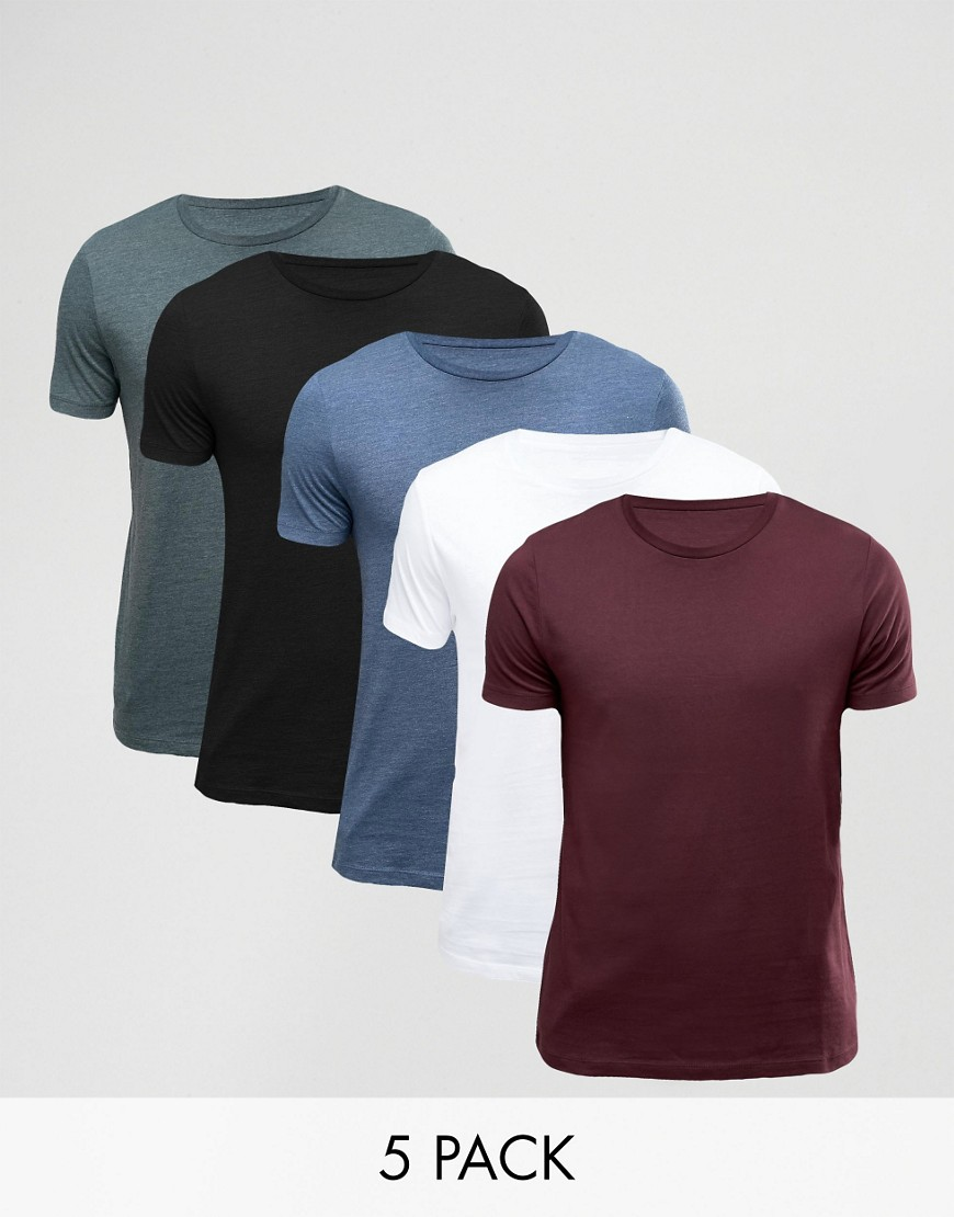 ASOS 5 Pack Muscle T-Shirt - Multi