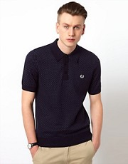 Fred Perry Knitted Polo with Micro Dot
