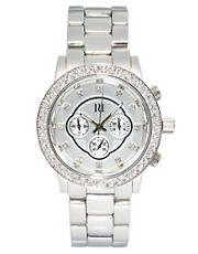 River Island Silver Emily Bling Chronograph Watch