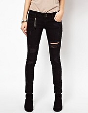 River Island Matilda Skinny In Black Destroy Denim