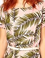 Image 3 ofGanni Woven Tee Dress in Palm Print with Patent Leather Belt