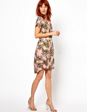 Image 4 ofGanni Woven Tee Dress in Palm Print with Patent Leather Belt