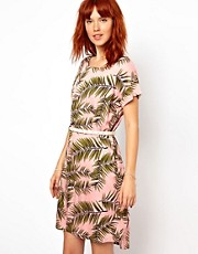 Ganni Woven Tee Dress in Palm Print with Patent Leather Belt