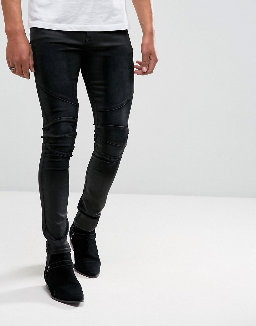 ASOS Extreme Super Skinny Biker Jeans In Coated Black - Black