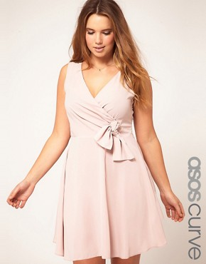 Image 1 ofASOS CURVE Wrap Dress With Bow Detail