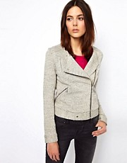 Vanessa Bruno Ath Tweed Jersey Biker Jacket