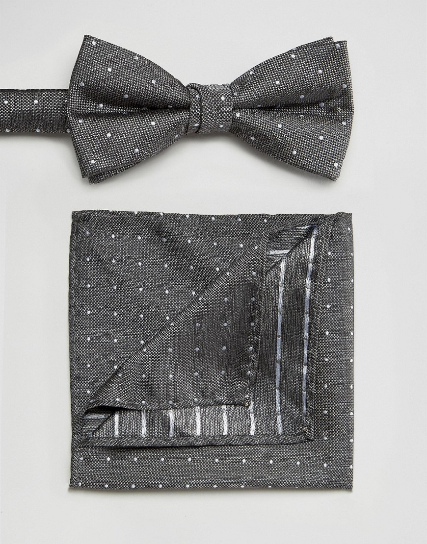 Галстук-бабочка и платок для пиджака Selected Homme - Серый