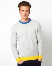 Farah Vintage Sweater with Contrast Collar and Hem