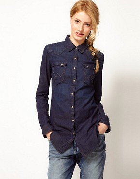 Image 1 ofWrangler Longline Dark Denim Shirt