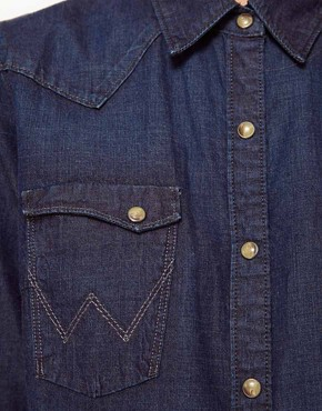 Image 3 ofWrangler Longline Dark Denim Shirt