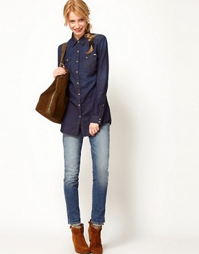 Image 4 ofWrangler Longline Dark Denim Shirt