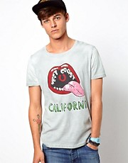 ASOS T-Shirt With California Print in Colour Change Jersey