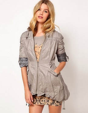 Image 1 ofLipsy Ruched Fur Trim Parka