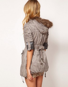 Image 2 ofLipsy Ruched Fur Trim Parka