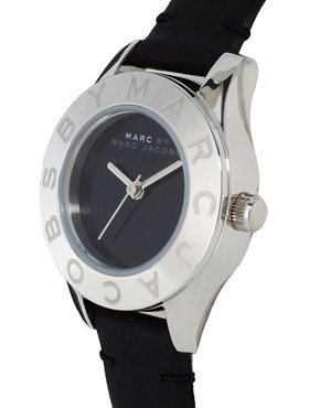 Image 3 ofMarc By Marc Jacobs Mini Black Leather Strap Watch