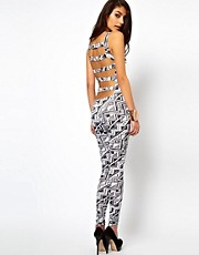 ASOS Unitard In Mono Aztec Print