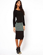 ASOS Stripe Pencil Skirt in Colourblock