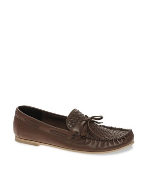 Image 1 of ASOS Leather Loafers With Woven Front