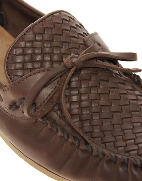 Image 2 of ASOS Leather Loafers With Woven Front