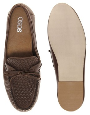 Image 3 of ASOS Leather Loafers With Woven Front