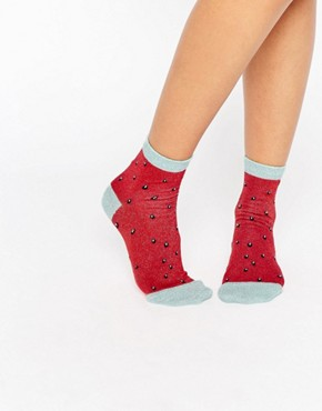 ASOS Glittery Allover Watermelon Ankle Socks