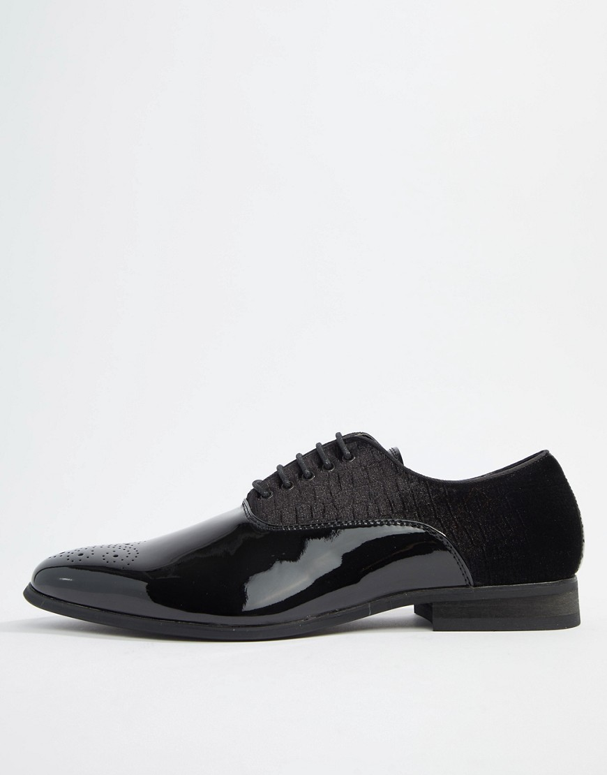 River Island velvet lace up shoes in black