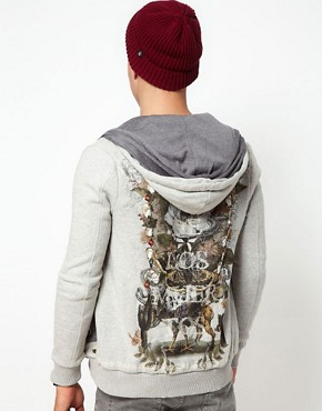 Image 2 ofElvis Jesus Hoodie Zip Through Print
