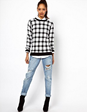 Image 4 ofASOS Mono Checked Sweater