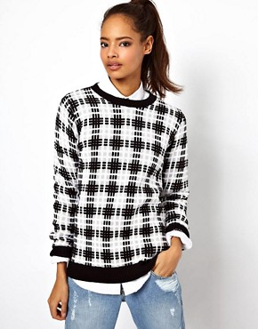 Image 1 ofASOS Mono Checked Sweater