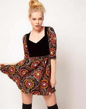 Image 1 ofMinkpink &#39;East End&#39; Retro Folk Skater Dress