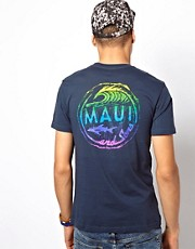 Maui And Sons T-Shirt Woodcut Back Print