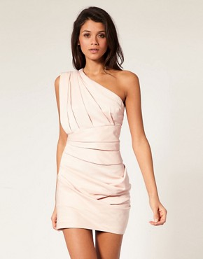 Image 1 ofASOS Pleated Dress with One Shoulder