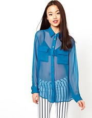 Equipment Silk Blue Sapphire Shirt