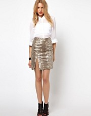 Lavish Alice PU Pencil Skirt In Snake Print