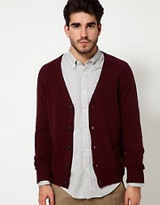 Scotch And Soda Cardigan With Elbow Patches In Lambswool