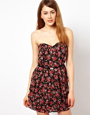 Image 1 ofJarlo Floral Bandeau Dress With Belt