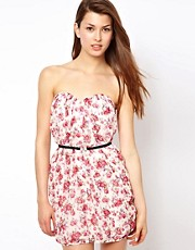 Jarlo Floral Bandeau Dress With Belt