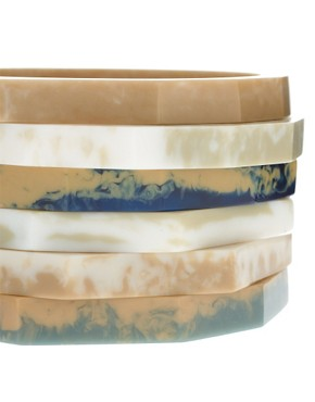 Image 3 ofASOS Pack Of Skinny Natural Stone Look Stacking Bangles