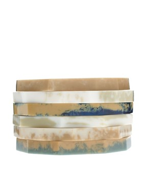 Image 1 ofASOS Pack Of Skinny Natural Stone Look Stacking Bangles