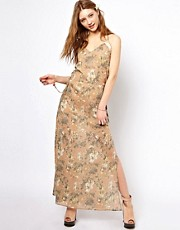 Winter Kate Swan Maxi Dress in Printed Cotton with Lace Detail