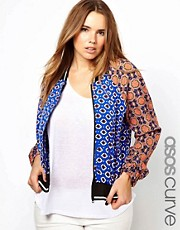 ASOS CURVE Mixed Print Bomber