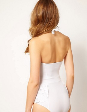 Image 2 ofASOS Laser-cut Peplum Cupped Swimsuit