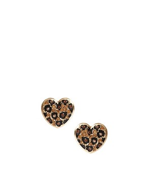 Image 1 ofRiver Island Leopard Heart Stud Earrings