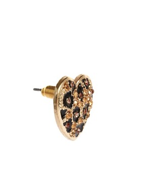 Image 3 ofRiver Island Leopard Heart Stud Earrings