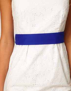 Image 4 ofCoast Rayna Broderie Contrast Belt Dress