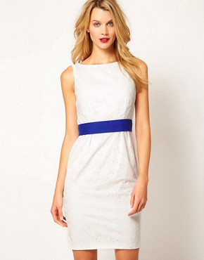 Image 1 ofCoast Rayna Broderie Contrast Belt Dress